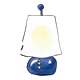 Blue Lamp with white lampshade and a yellow glow