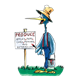 Stork in Suspenders painting sign, has grass