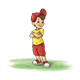Boy with red hat and shorts, has grass