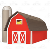 Red Barn and Brown Silo