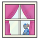 Window with pink curtains and mouse doll