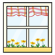 Window with plaid curtains and yellow flowers