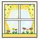 Window with polka-dot curtains and flowers in flower box