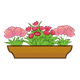 Brown Flower Box with three pink flowered plants