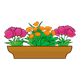 Brown Flower Box with one orange, two pink flowered plants