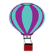 Hot Air Balloon purple and turquoise