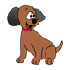 Brown Puppy with black ears, red collar, sitting