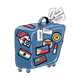 Blue Suitcase with wheels and international stickers