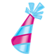 Party Hat bright pink and teal striped