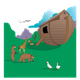 Noah's Ark on grass with animals milling about