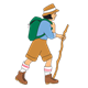 Girl with backpack, walking stick, and hat