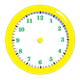 Yellow Clock without hands, has green numbers