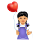 Girl with heart balloon
