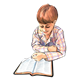 Boy in Plaid Shirt reading Bible