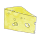 Wedge of Yellow Cheese with holes