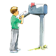 Boy in Green Shirt putting mail in mailbox