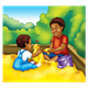 Two Boys building sand castle in sandbox, with background