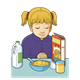 Praying Girl with breakfast in front