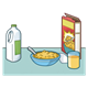 Breakfast cereal and juice