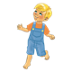 Blond-Haired Boy in blue overalls
