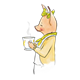 Girl Pig in yellow dress holding a teacup