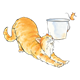 Orange Cat Stretching next to mouse jumping out of pail