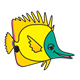 Yellow Fish with green face, without bubbles