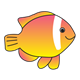 Yellow and Red Fish with white stripe down the side