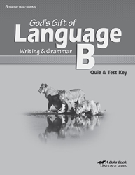 God's Gift of Language B Quiz and Test Key