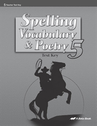 Spelling, Vocabulary, and Poetry 5 Test Key