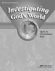 Investigating God's World Quiz and Worksheet Key