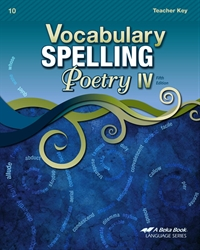 Vocabulary, Spelling, Poetry IV Teacher Key
