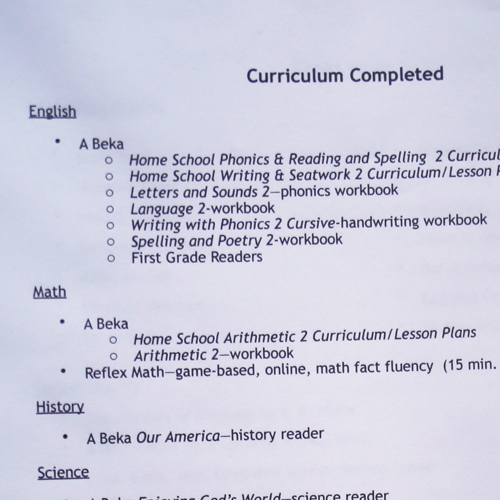 Curriculum Completed Page