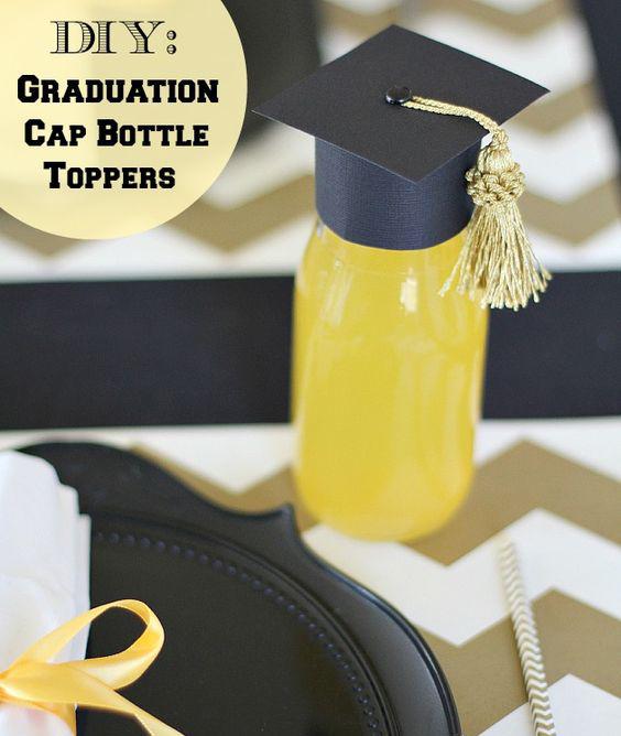 A graduation cap bottle topper