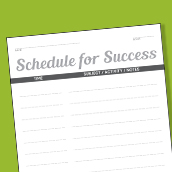 Schedule for Success Card 4