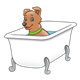 Brown Dog in bathtub
