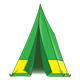 Green Tent with yellow stripe