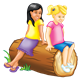 Two Girls on a log