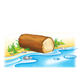 Log lying by water