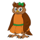 Female Owl wearing an orange dress and green bow