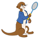 Otter with a blue jacket and a racket
