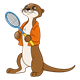 Otter with an orange jacket and a racket