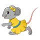 Girl Mouse with a yellow dress and bow