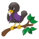 Black Bird on Branch wearing a purple jacket