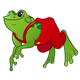 Green Frog with red overalls