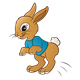 Boy Rabbit with a blue shirt