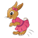 Girl Rabbit  with a pink dress and bow