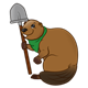 Brown Beaver with a green neckerchief and a shovel