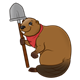 Brown Beaver with a red neckerchief and a shovel