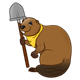 Brown Beaver with a yellow neckerchief and a shovel